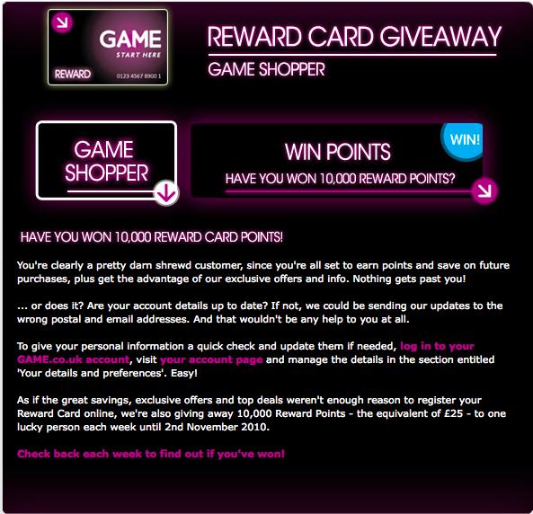 Game Reward Card 5