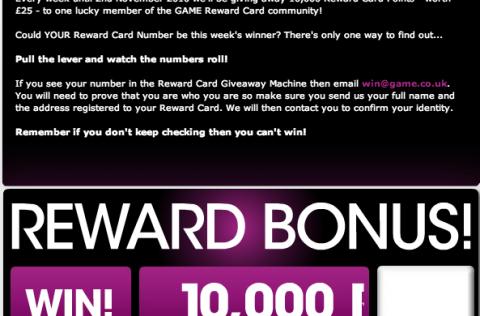 Game Reward Card Giveaway