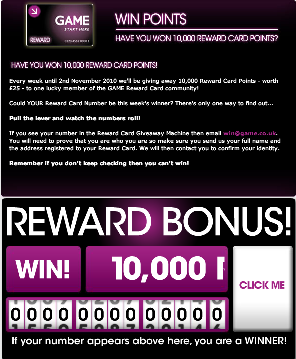 Game Reward Card 6